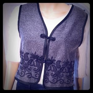 mohair--Express Charcoal Embrodered Vest